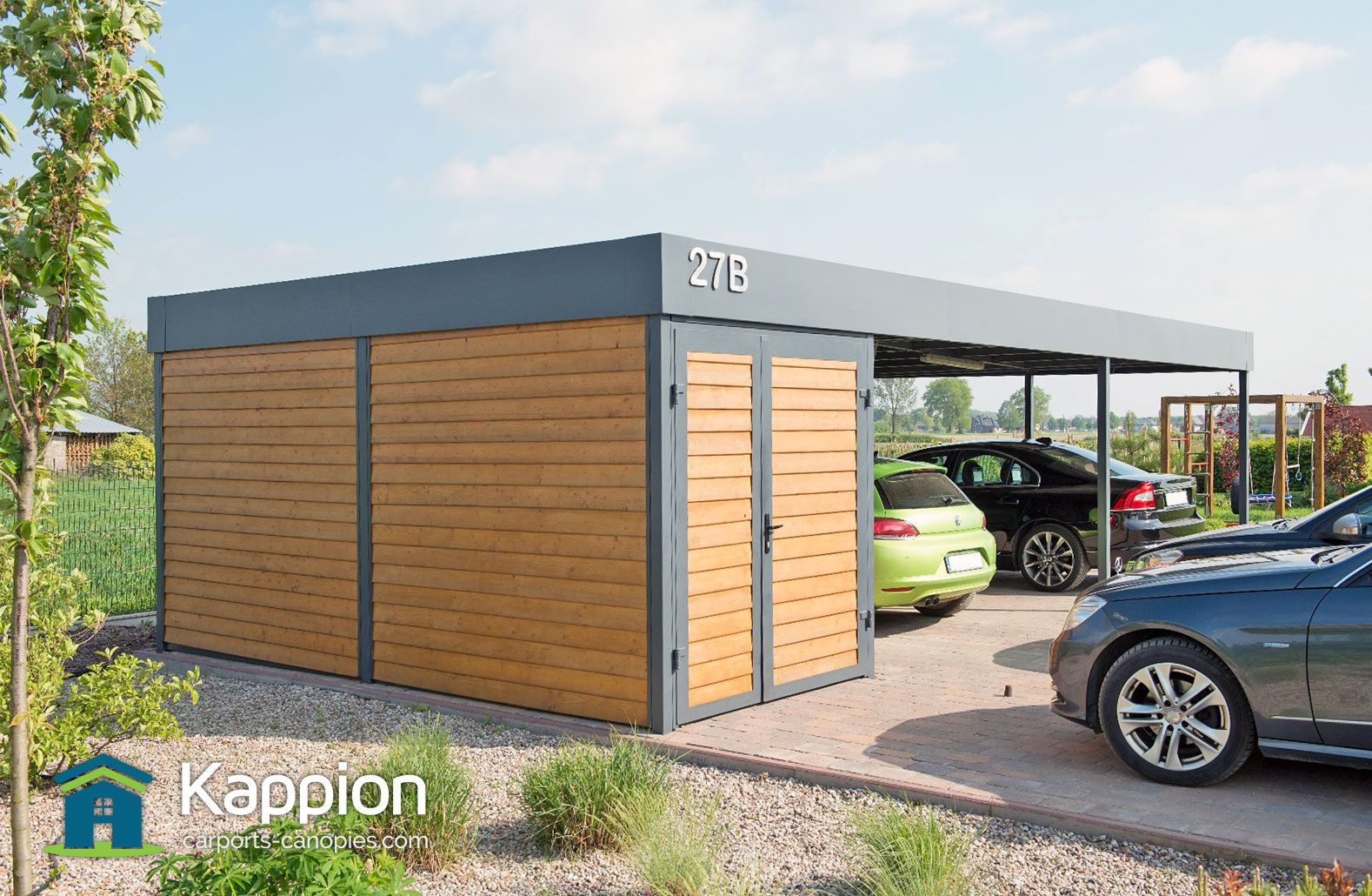 A carport and storage room all rolled into one. Stunning