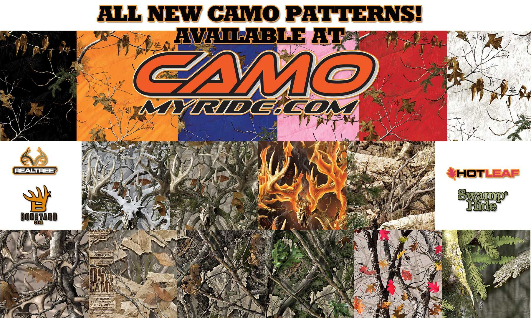 16 New Camo Patterns Realtree Swamphide Boneyard Hotleaf Get Them Now At Www Camomyride Com Camomyride With Images Camo Truck Camo Patterns Boat Kits