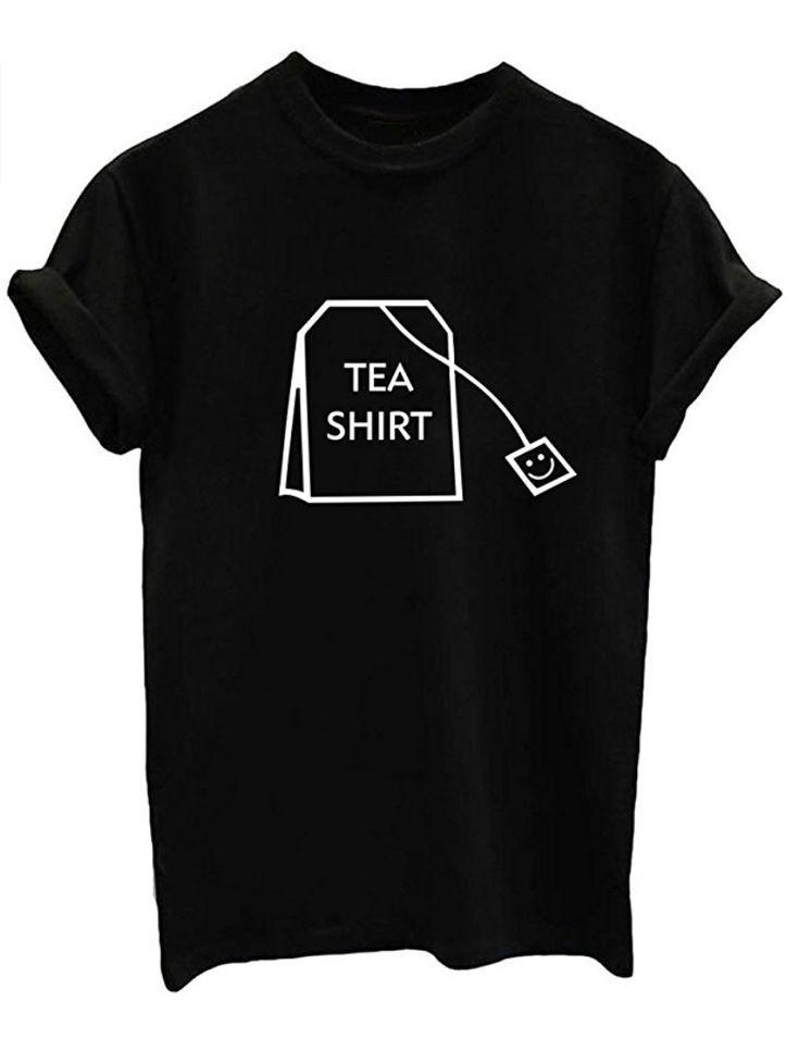 Tea Bag Shirt Teen Girl Funny T Shirts Women Cute Tops Junior Graphic Tee White Small