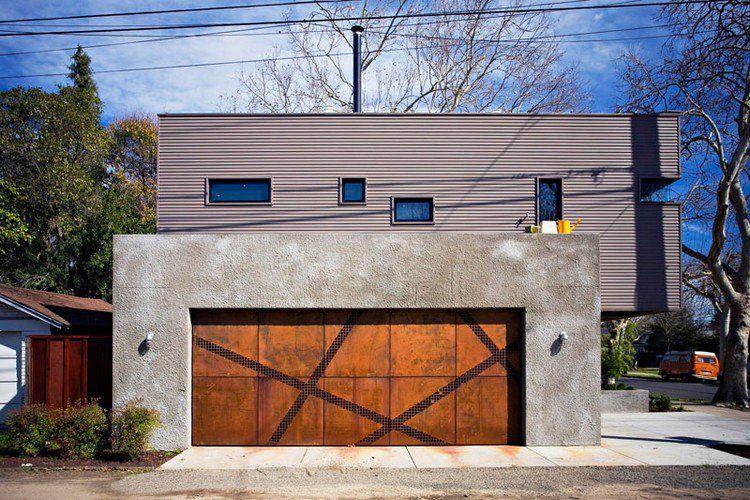 Porte De Garage Bois Exotique Façon Acier Corten Revêtement - Porte garage bois