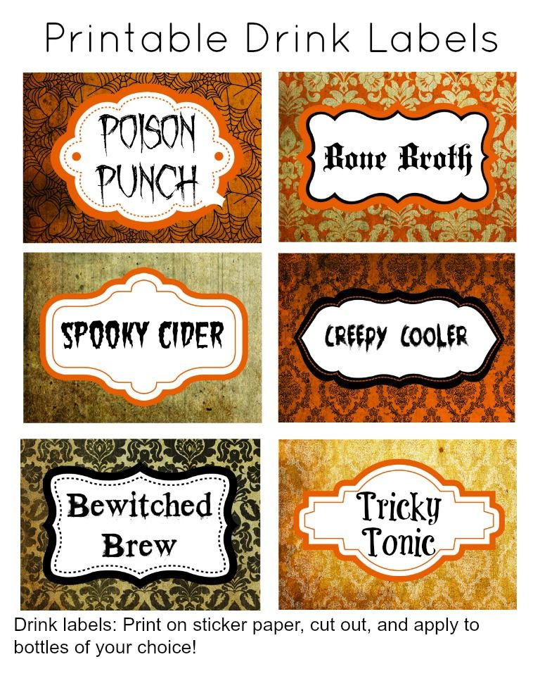 31 Days Of Halloween Free Printable Drink Labels