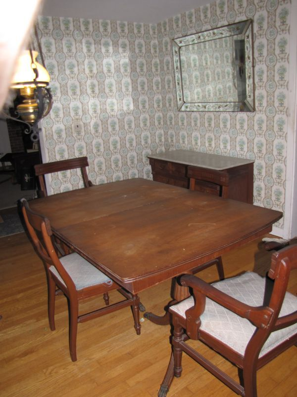 Federal Style Dining Room Table 2 Armchairs Side Chairs Antique Marble Top