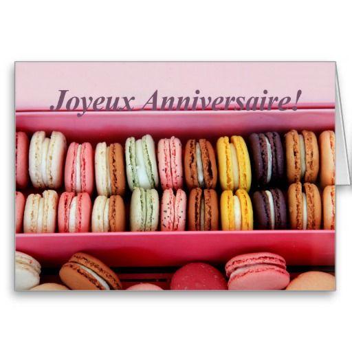 French Birthday Macaron Joyeux Anniversaire Greeting Card