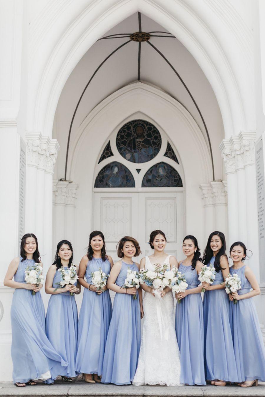 Subtle Elegance Kaichin And Evelyn S Singapore Wedding French Blue Wedding Bridesmaid Dresses Singapore Blue Wedding Inspiration [ 1350 x 900 Pixel ]
