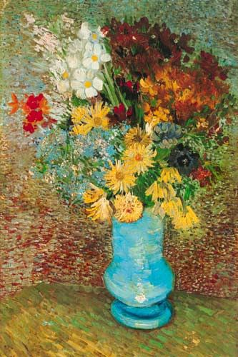 "This 1886-1887 painting by Van Gogh is titled ""Flowers in a Blue Vase."" Indicating his interest in--and mastery of--diverse artistic genres, Van Gogh painted many floral still lifes as well as portraits and landscapes. In this piece, he beautifully gives his own perspective to the vase of flowers by utilizing bright, vibrant colors and unique brushwork."