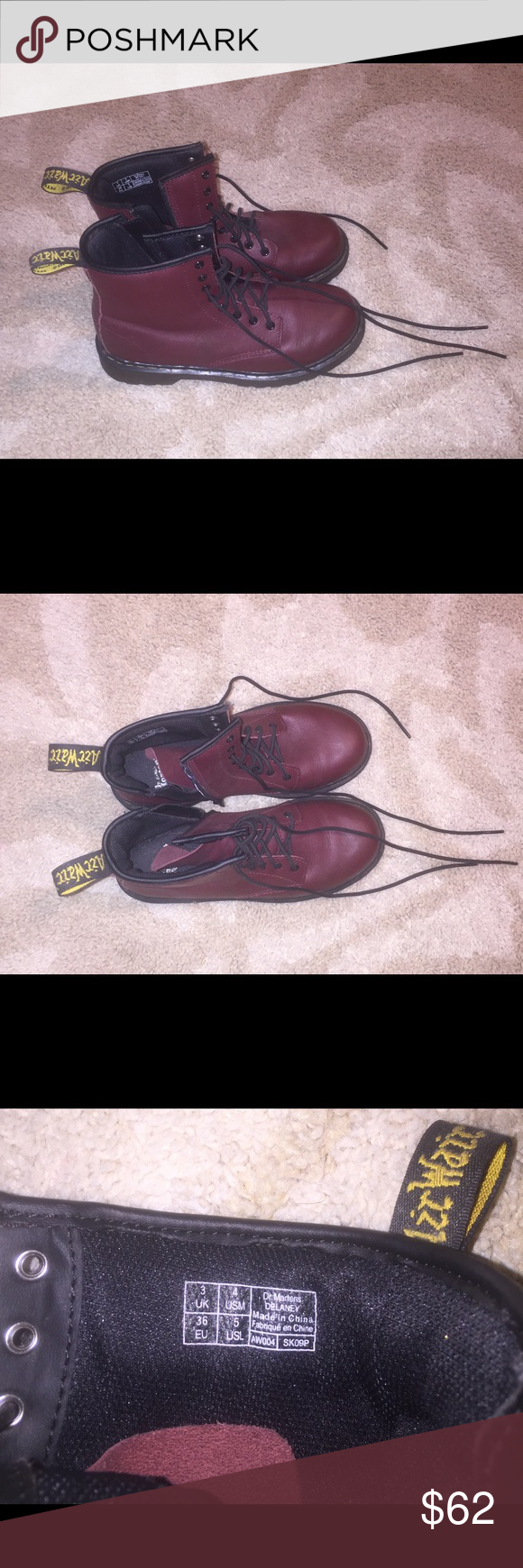 Red Doc Martens  Doc Marten Zip Up Boots ▶️ Youth Size 5 Doc Martens Shoes Ankle Boots & Booties
