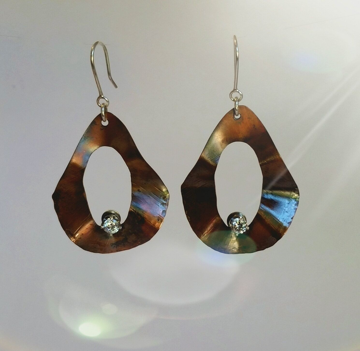 Lg. Copper Earrings with CZ Accents by CatsCreationsLLC on Etsy