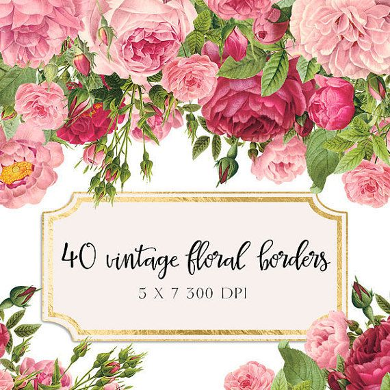 vintage floral borders clipart shabby chic clipart With wedding invitations with flowers vintage frame