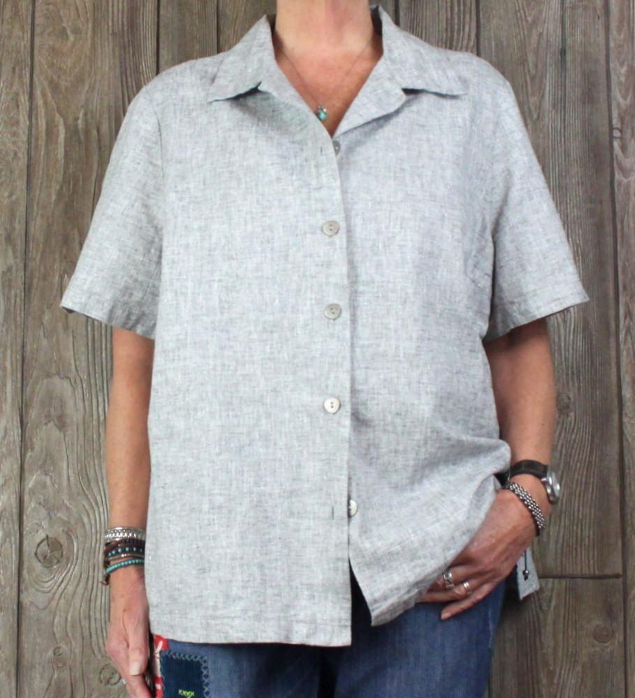 48ce3c9df3 Pretty Hot Cotton Blouse 2x size Gray Silver Metallic Flecked Womens Top Plus  Linen Blend
