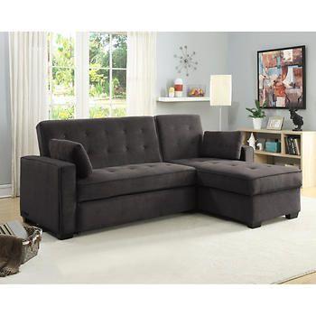 Tomas Fabric King Sleeper Chaise Sofa Dark Gray