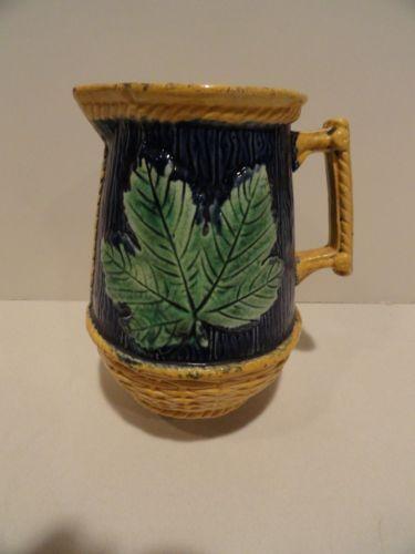 Antique Majolica Basketweave and Leaf Cobalt Pitcher Jug | eBay