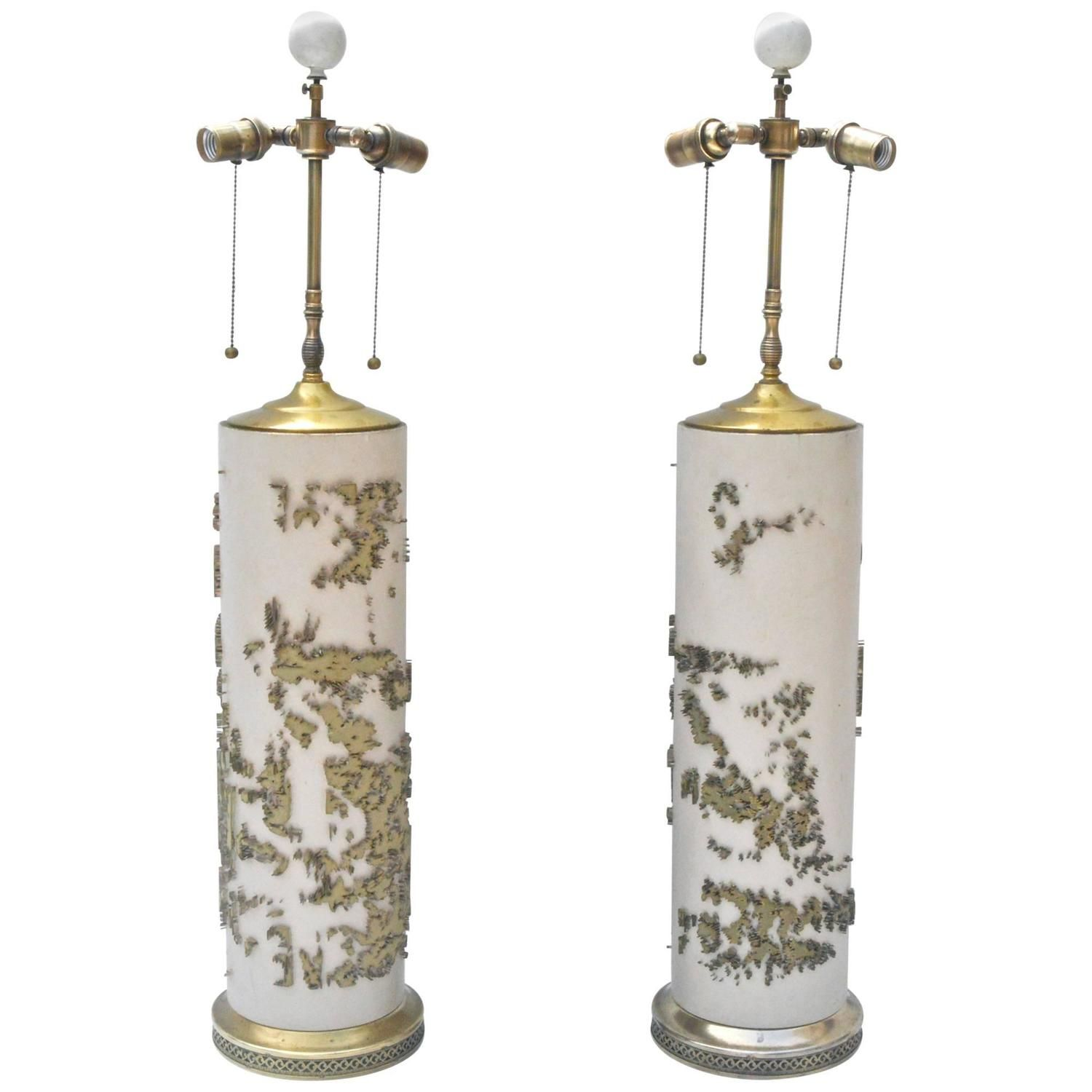 Epic Wallpaper Roller Lamps | From a unique collection of antique and modern table lamps at https://www.1stdibs.com/furniture/lighting/table-lamps/