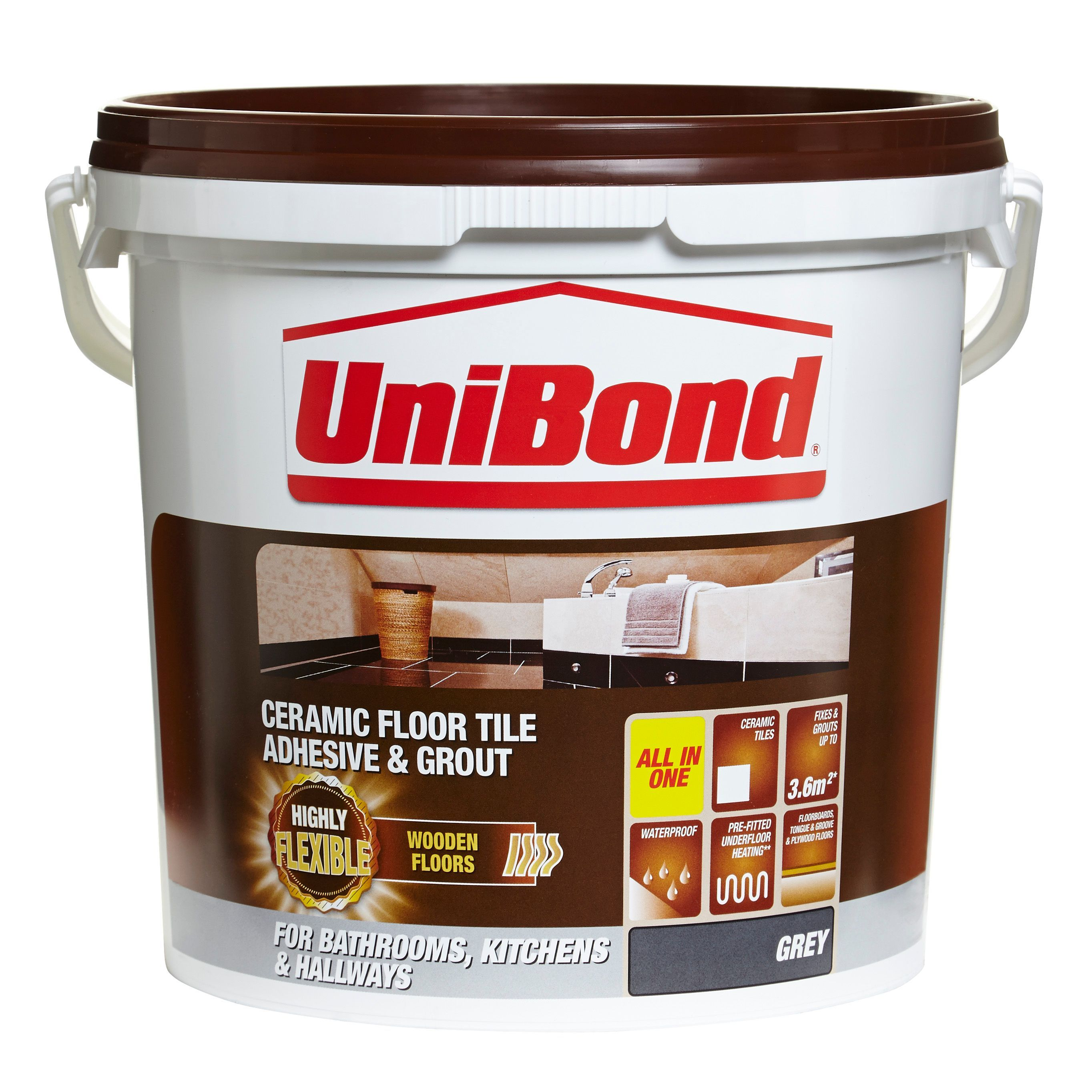 Unibond ready to use floor tile adhesive grout grey 143kg unibond ready to use floor tile adhesive grout grey 143kg departments dailygadgetfo Images
