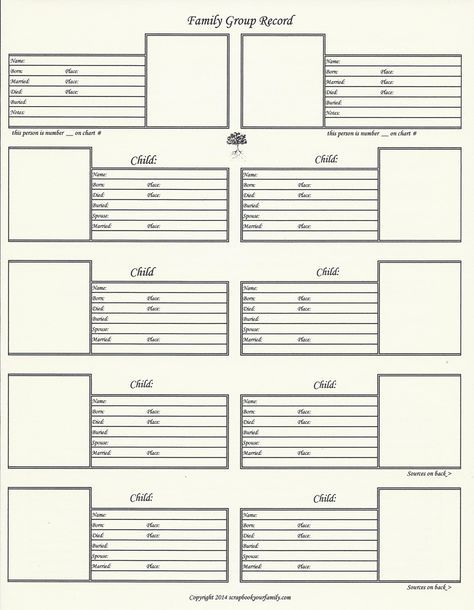 family group sheet template excel