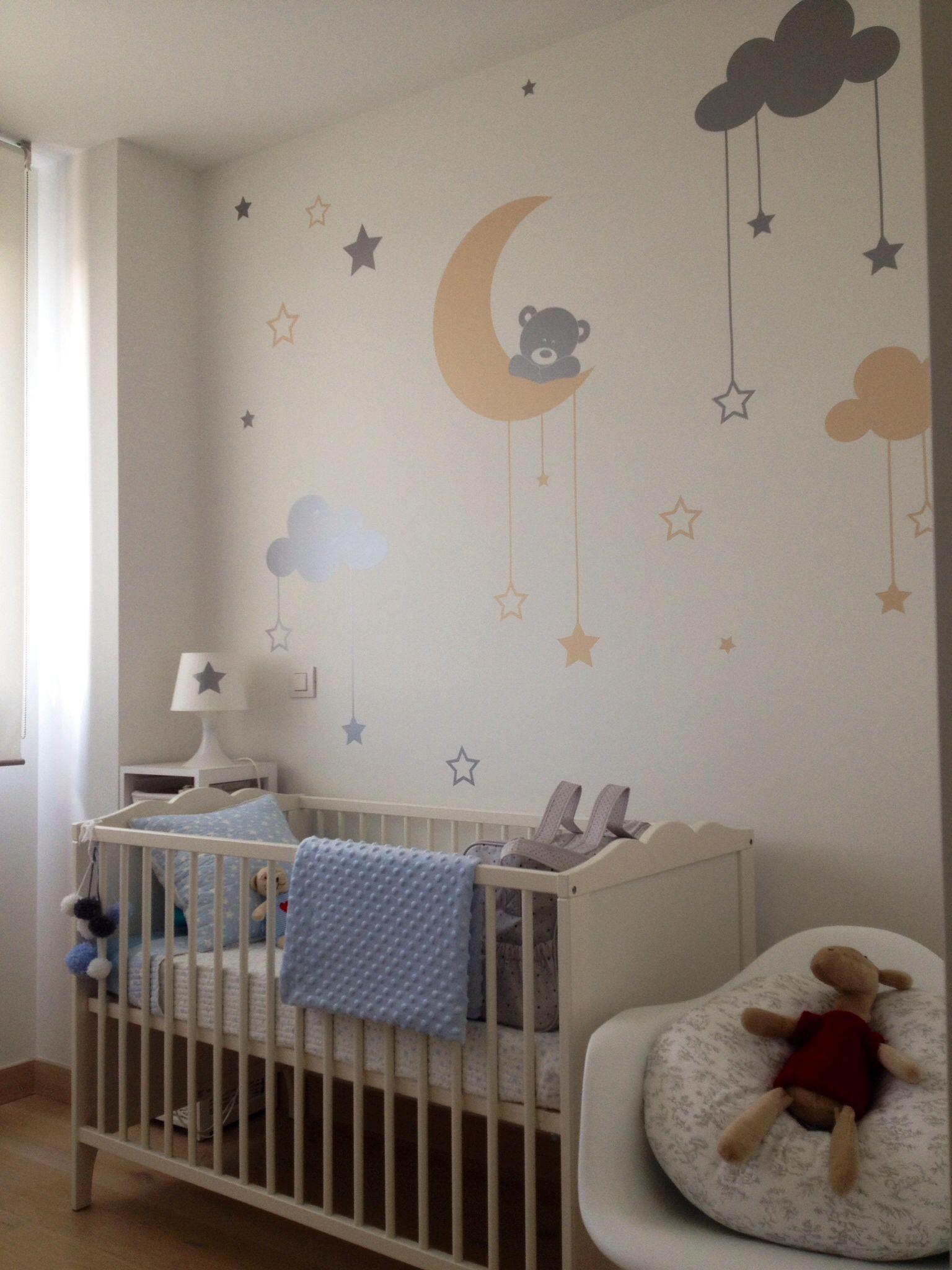 Vinilo infantil moon bear de myvinilo nursery ideas for Decoracion pared bebe nino