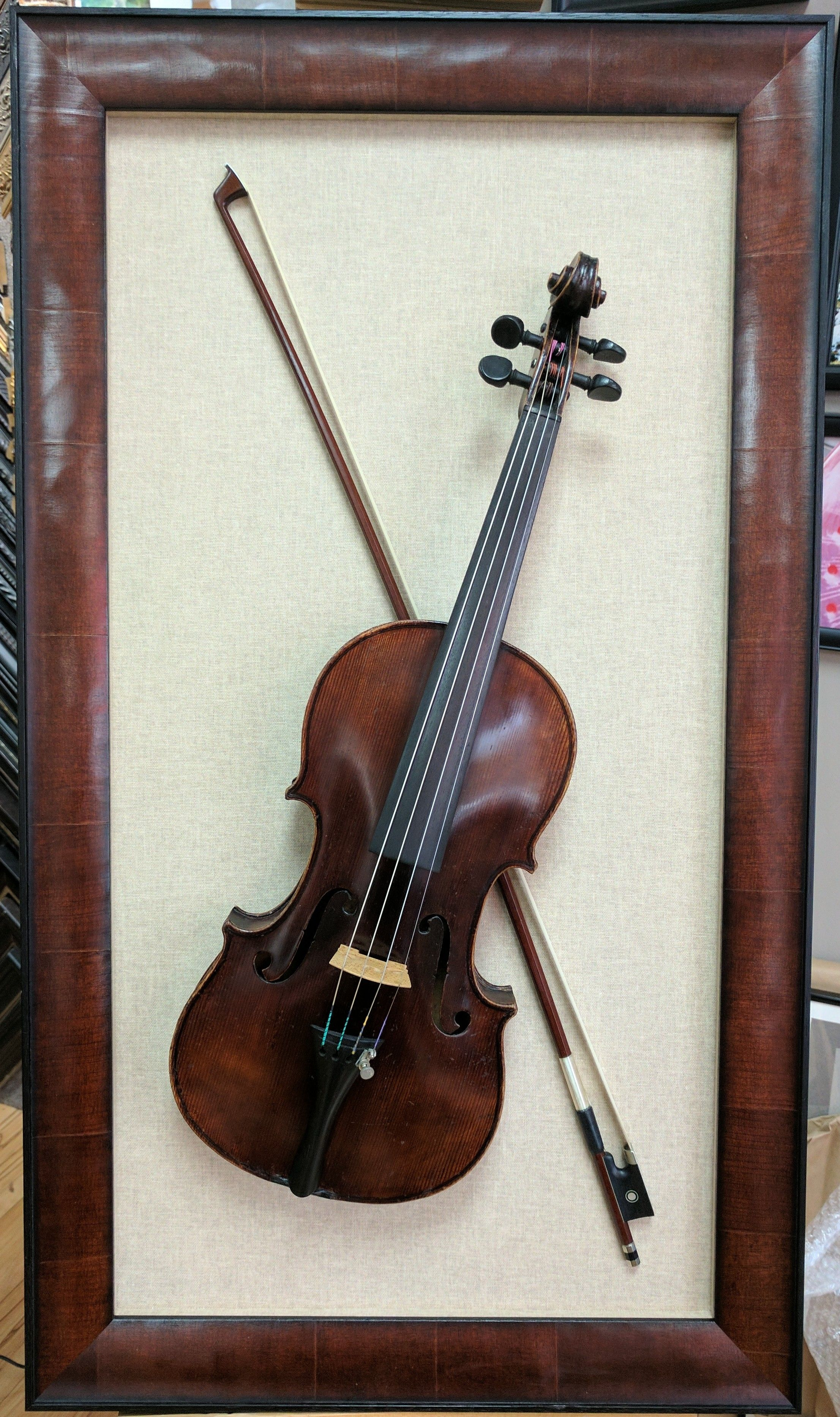 There S No Limit To What Can Be Custom Framed Beautiful Violin In A Mahogany Wood Shadow Box Wood Shadow Box Shadow Box Shadow Boxes