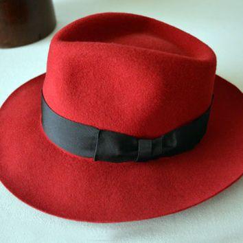 8454767e5a9e6 Dark Red Fur Felt Fedora - Wide Brim Rabbit Fur Felt Blend Handmade Fedora  Hat - Men Women