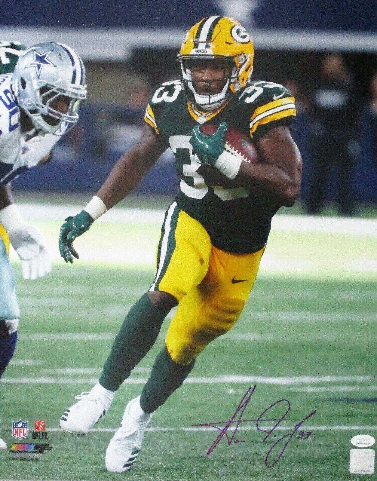 Packers Running Back Aaron Jones Signed 16x20 Photo 2 Auto 17 Draft Pick Jsa Running Back Jones Sign Packers