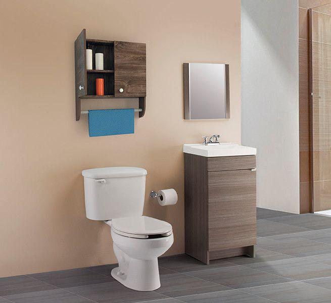 Para un espacio reducido usa un gabinete delgado con una Repisas de bano homecenter