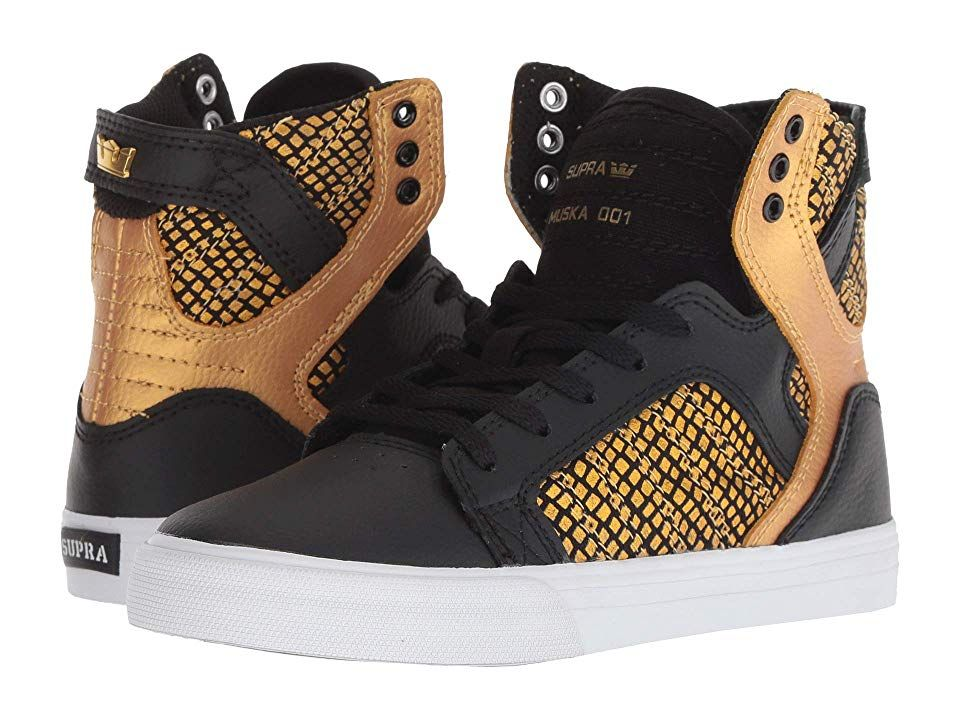 Supra Kids Skytop (Little KidBig Kid) (BlackGoldBlack