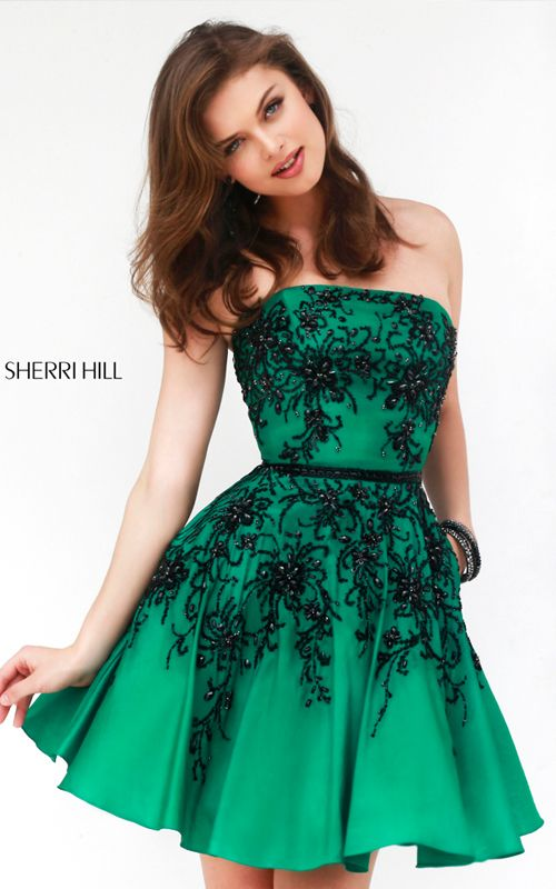 Strapless Emerald Sherri Hill 32045 Short Prom Dress | Sherri Hill ...