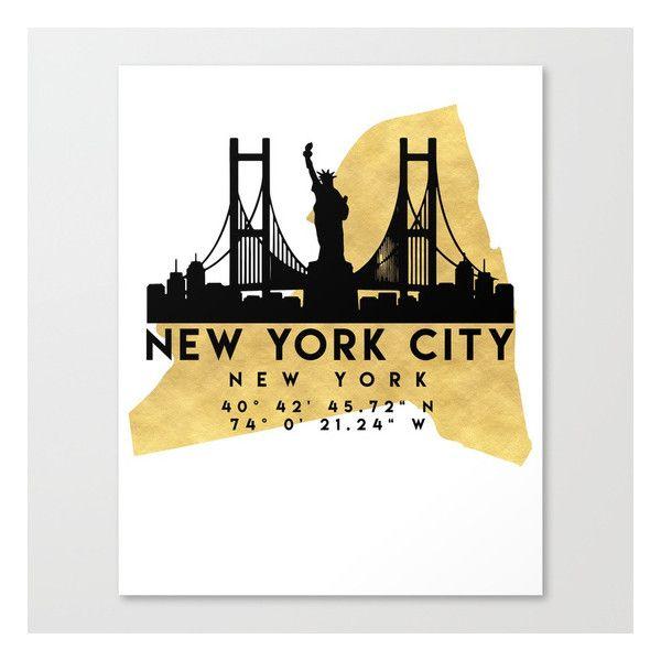 NEW YORK CITY NEW YORK SILHOUETTE SKYLINE MAP ART Canvas Print ($95 ...
