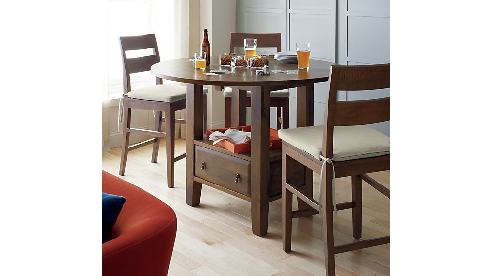 Basque Honey Round High Dining Table  Crate And Barrel  Feels Fair High Dining Room Table Decorating Design