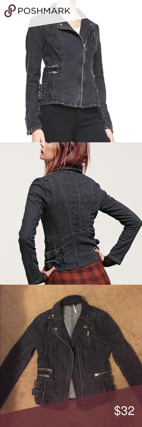 Free People denim jacket Denim buckle-detailed zip jacket Free People Jackets & Coats Jean Jackets