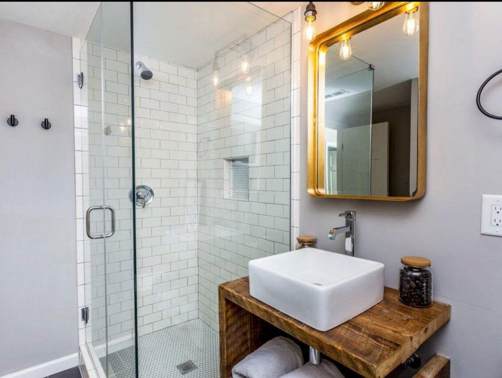 The Modern Split   Modern bathroom, Basement remodeling ...
