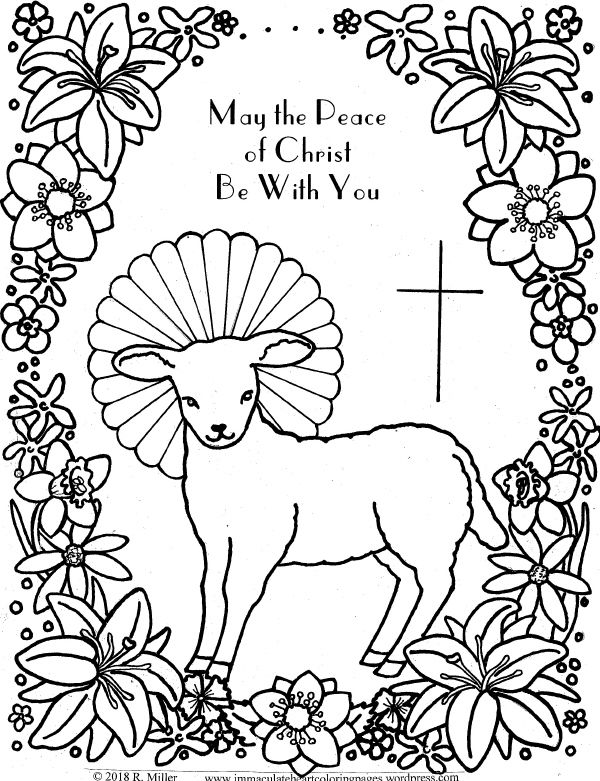 Lamb of God Easter Coloring Page | Catholic Coloring Pages ...