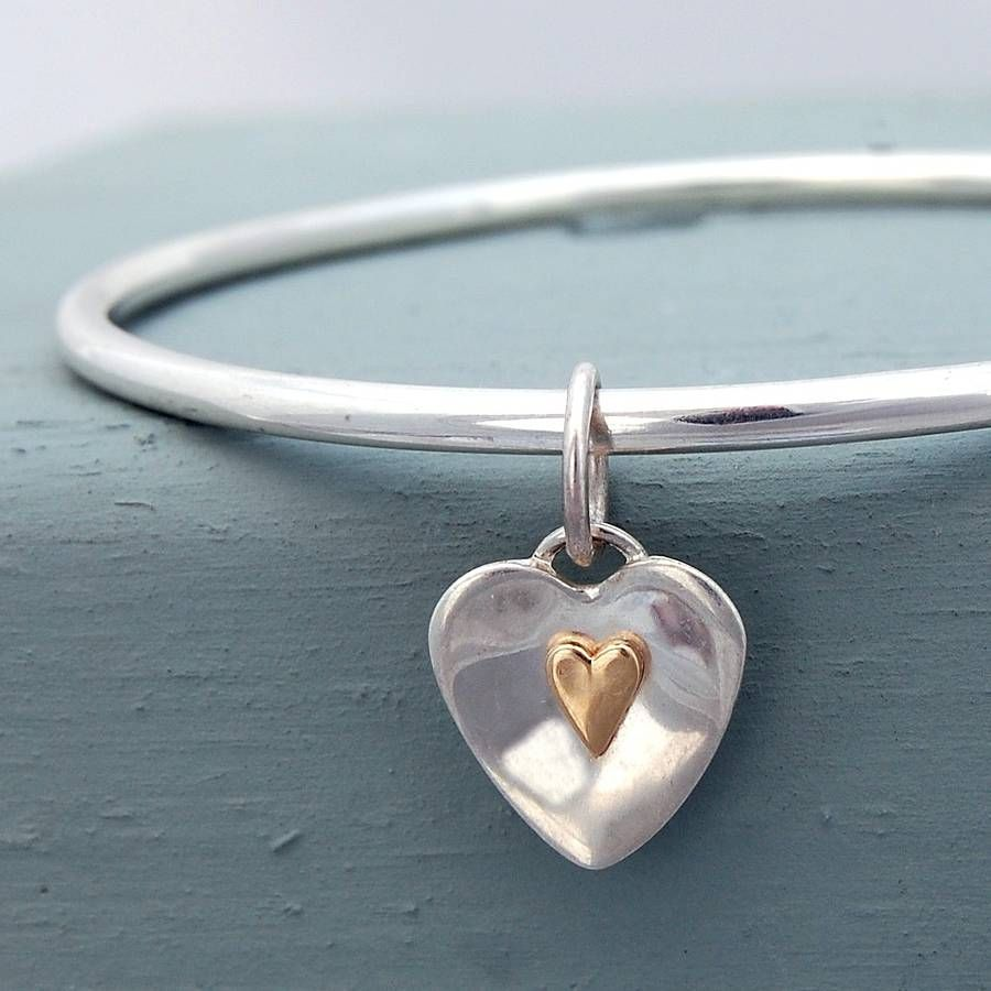 Flutter Sterling Silver And Gold Heart Bangle