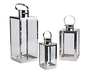 Set di 3 lanterne in metallo e vetro argento - max 16x40x16 cm