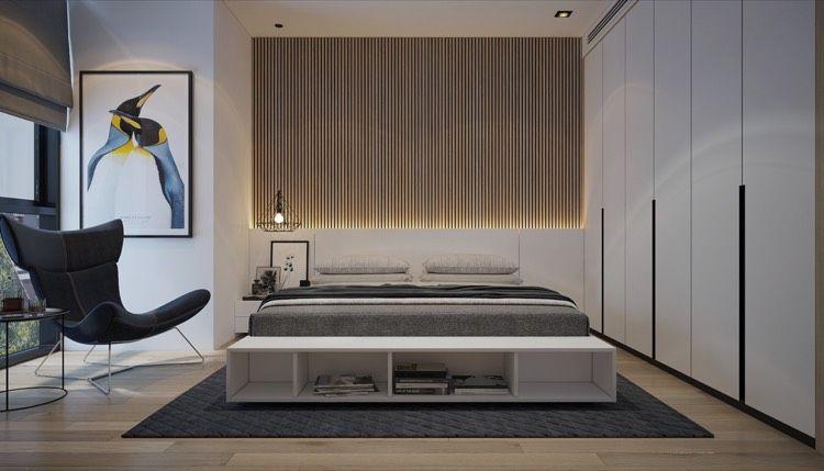 Led Leiste Hinter Bett Kopfteil Beleuchtet Von Unten Schlafzimmer
