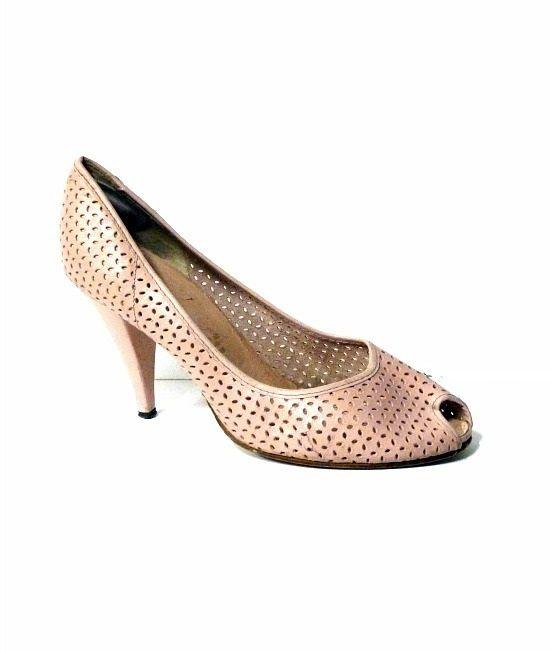 80s vintage baby pink peep toe shoes
