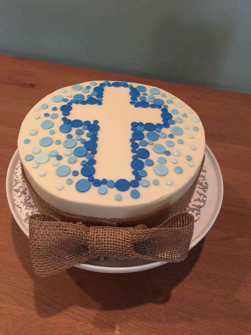 Boy communion cake with burlap bow  Mehlspeise  Taufe