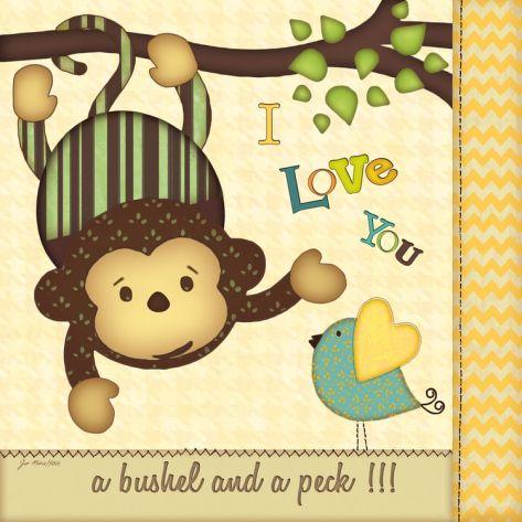 I Love You Monkey Print by Jo Moulton at Art.com