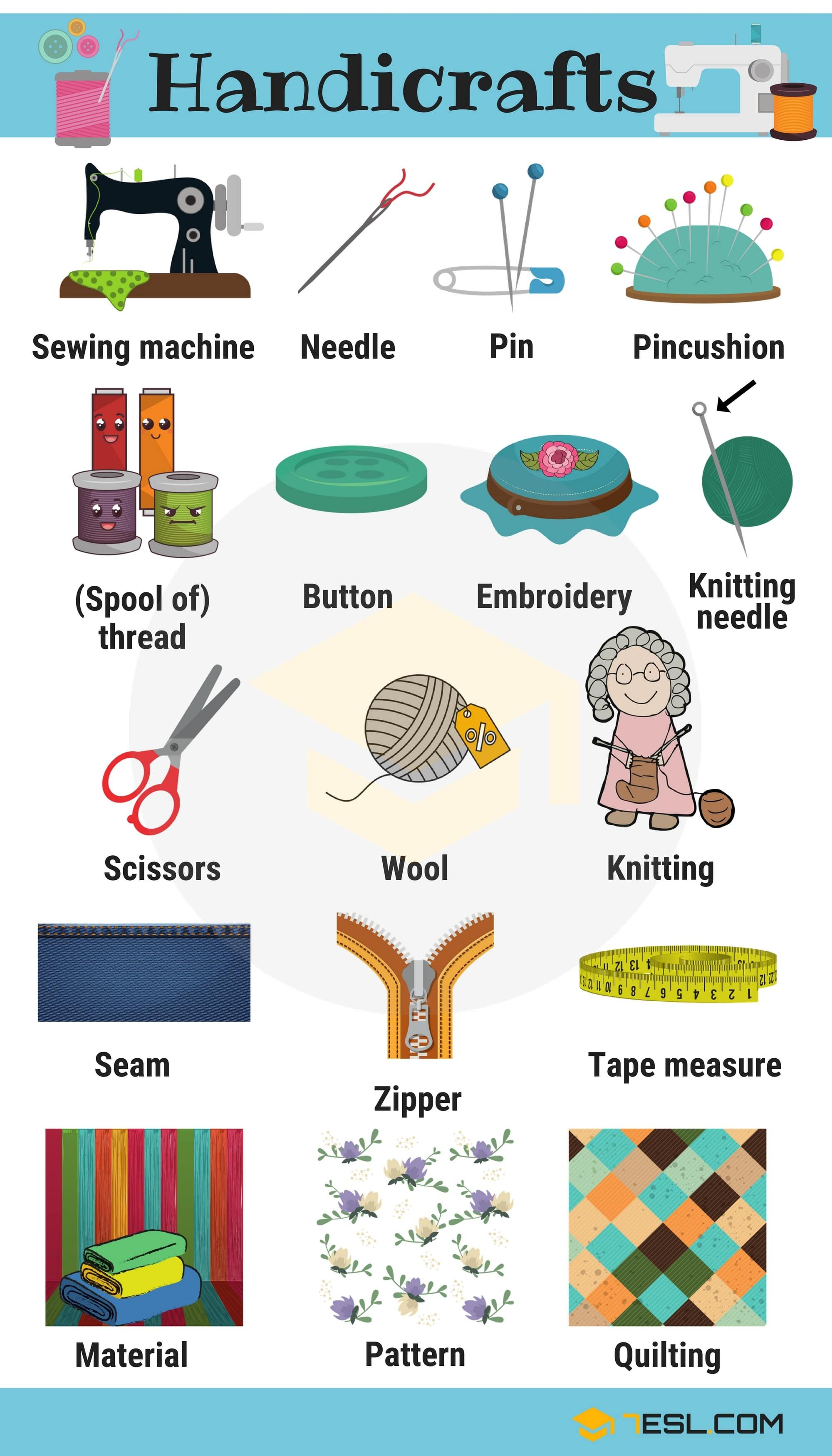 Learn Handicraft Vocabulary With Pictures Enska Pinterest
