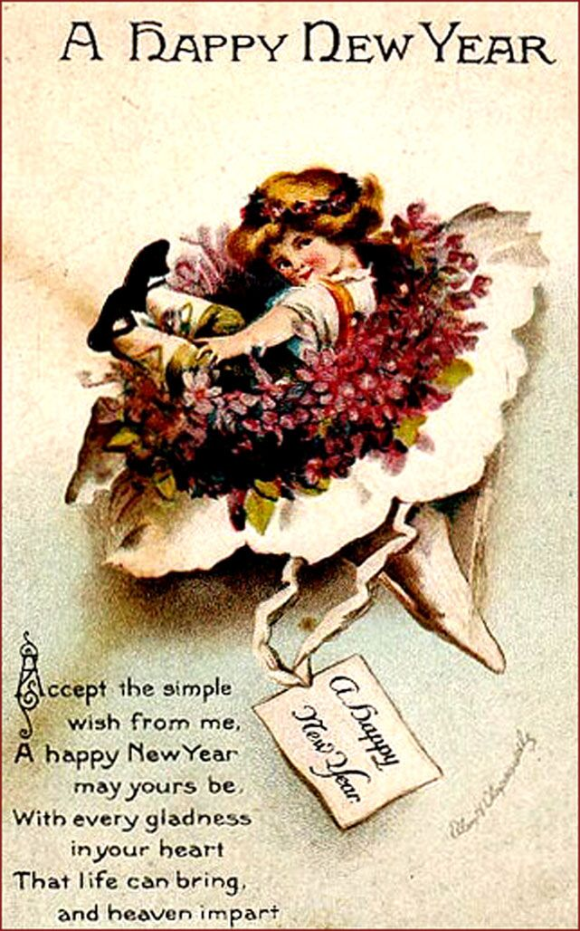 Vintage new year greeting card short poem and little girl in a vintage new year greeting card short poem and little girl in a flower bouquet m4hsunfo