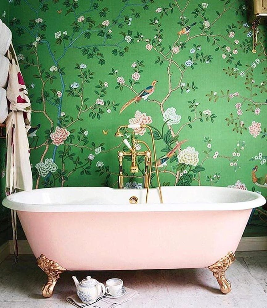 Well Good On Instagram Bath Goals Iamwellandgood Regramlove Simonuptonphotos In 2020 Bathroom Wallpaper Chinoiserie Wallpaper Bold Wallpaper