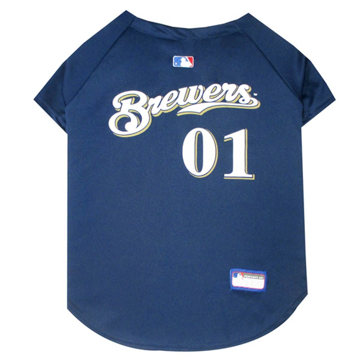 Photo of Milwaukee Brewers Officially Licensed Dog Jersey – Navy Blue