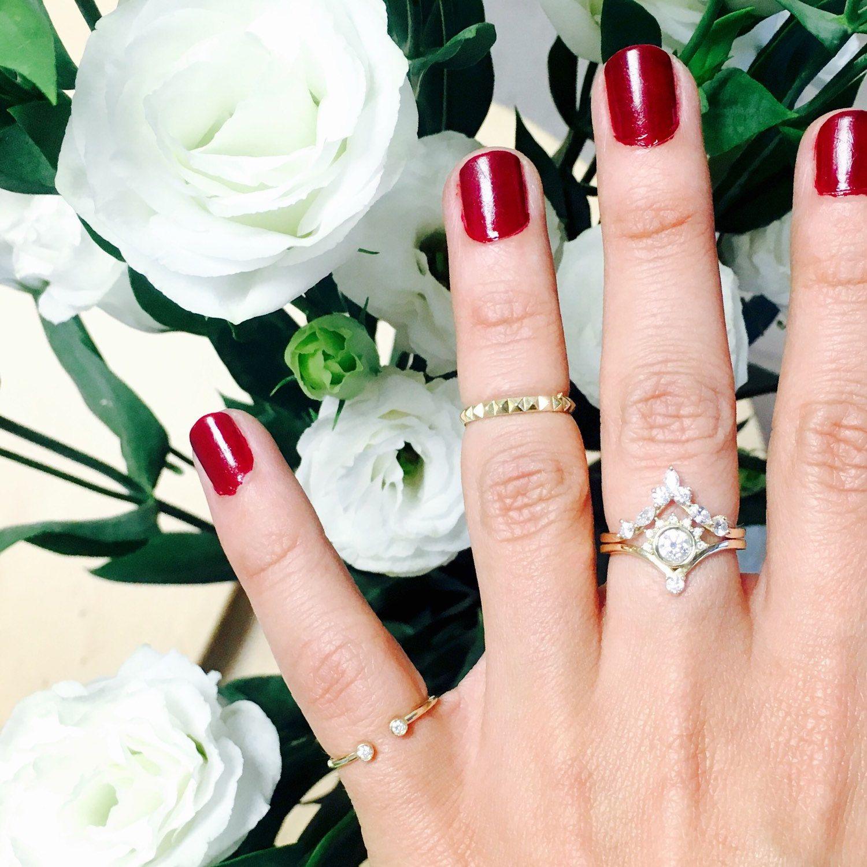 Diamond V Nesting Ring Side Wedding Band Unique Hermes Chevron