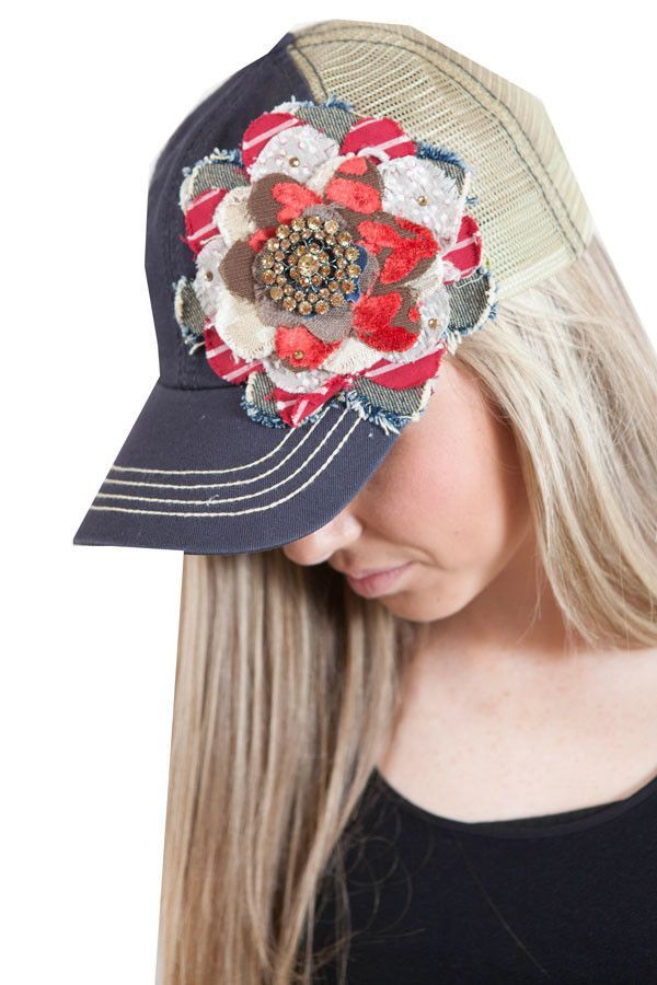 Navy and cream trucker hat with floral embellishments  76ca73d32282
