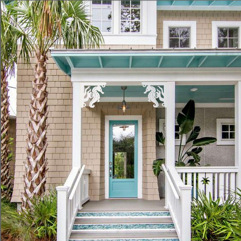 We Create Coastal Themed House Trim Including Decorative Corner Brackets Corbels Balusters P Beach House Exterior House Paint Exterior Exterior House Colors