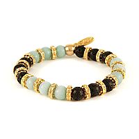 Amazonite stone and Lava Bead Elastic Bracelet with Gold Donut Rings