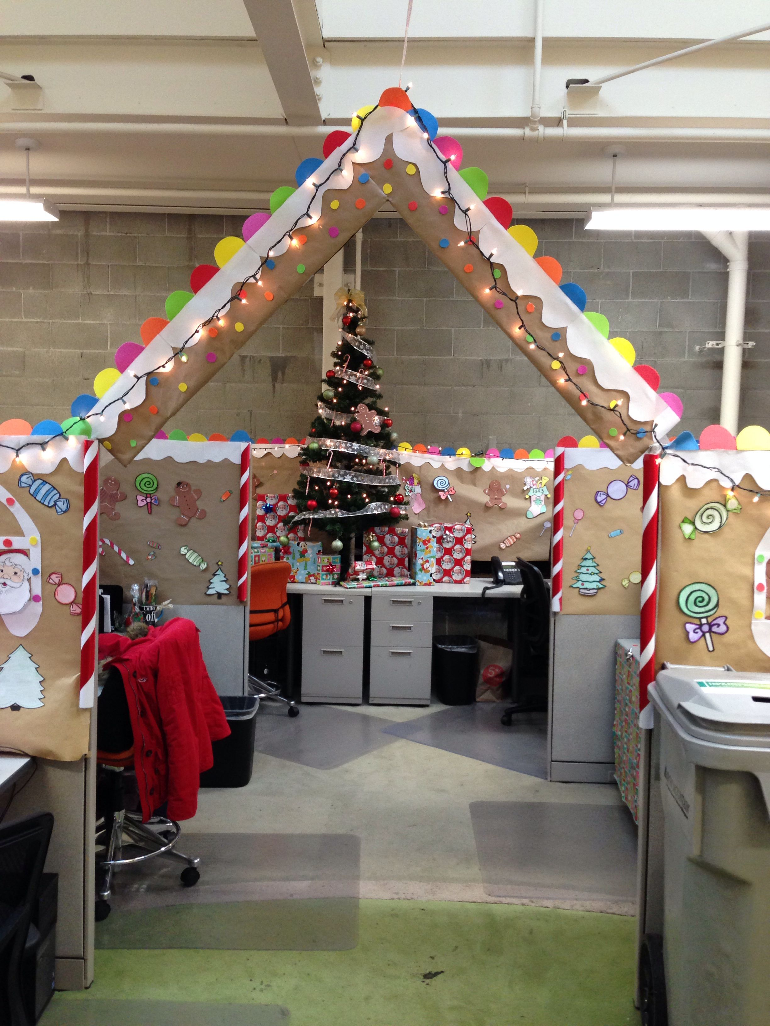 Gingerbread Cubical Decorating 1st Place Office Christmas Decorations Christmas Desk Decorations Office Christmas Party