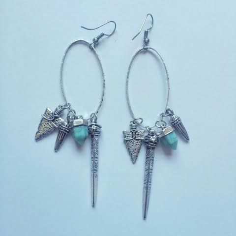 Bijoux Faux Dagger Earrings. Turquoise stone dangler. £5.50
