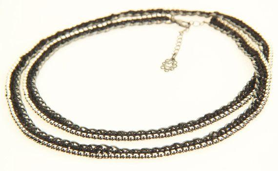 Black Silk crochet Swarovski strass stones stripes by inbarjewelry, $89.00