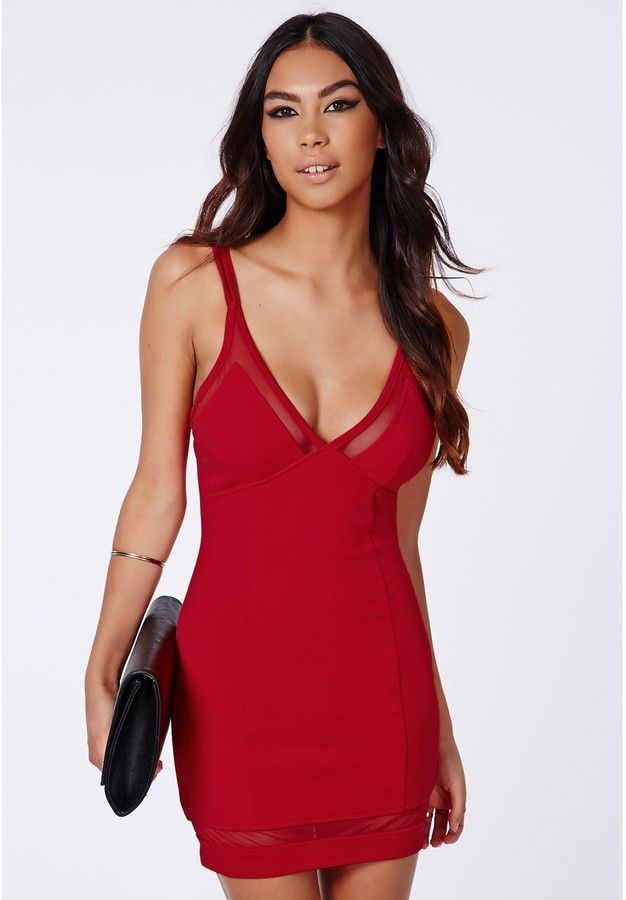 Ivanka Crepe Mesh Strappy Bodycon Red