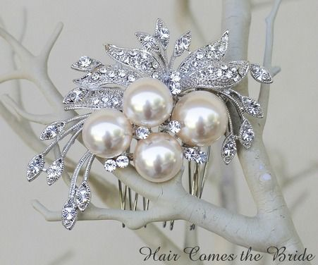 """Rhinestone and Pearl Vintage Brooch Bridal Hair Comb """"Classique"""" by Hair Comes the Bride ~ #bridalhairaccessories #bridalcomb #bridalhaircomb #vintagehaircomb"""