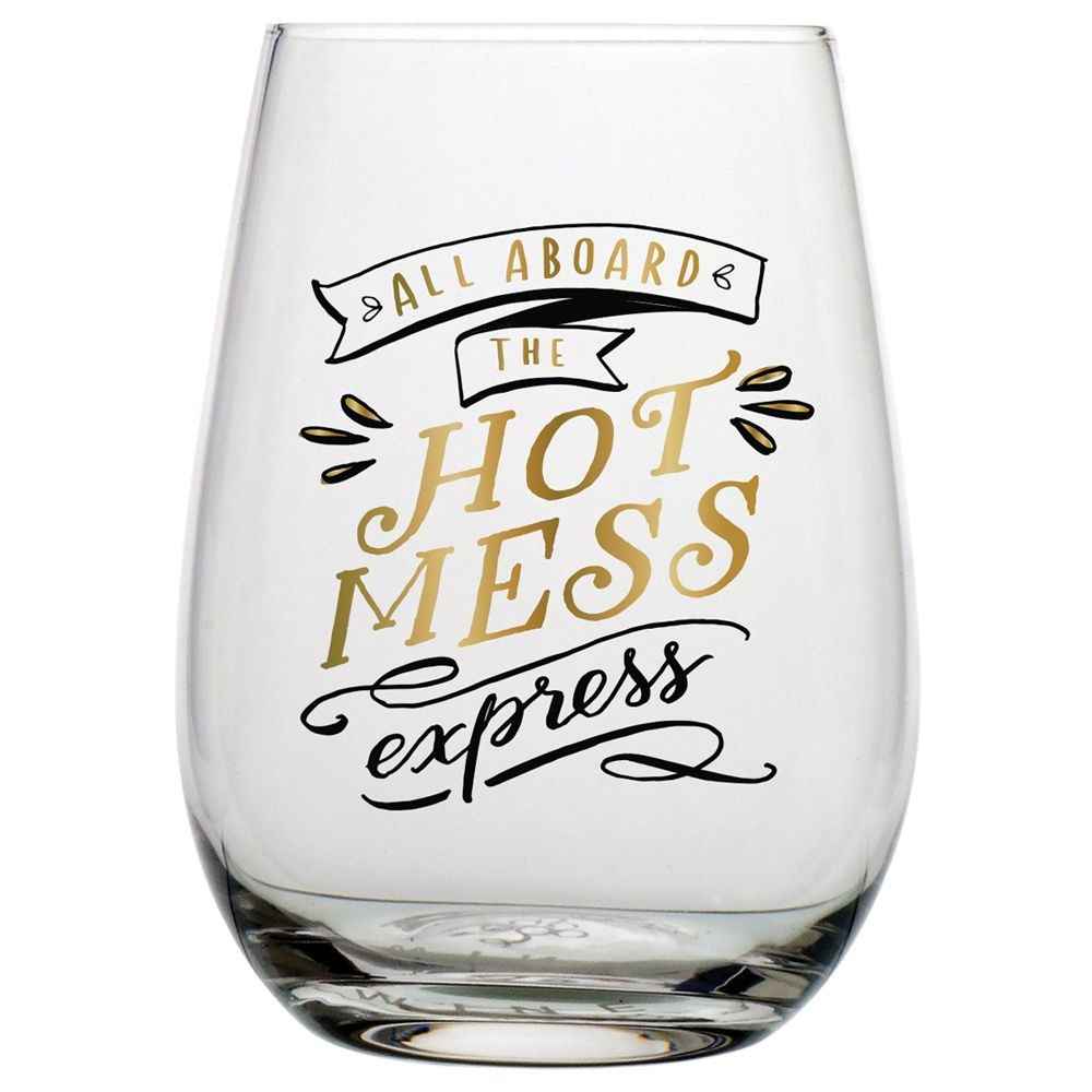 Stemless Wine Tumbler Coffee Travel Mug Cup Glass Hot Mess Express Funny